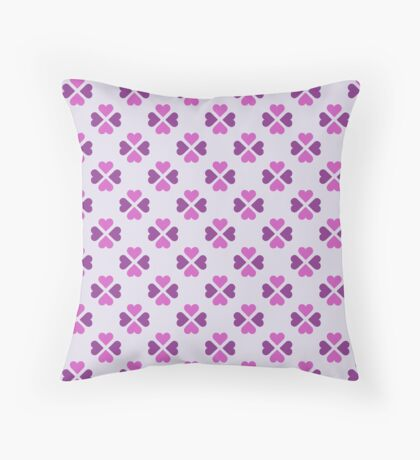 Hot Pink Heartshaped Clover Retro Pattern Throw Pillow