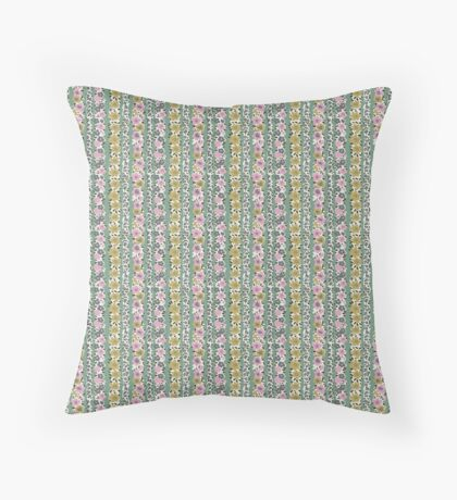 Pink and Green Flower Stripes Retro Pattern Throw Pillow