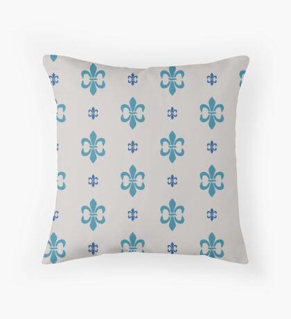 Robins Egg Blue Fleur  De Lis Retro Pattern Throw Pillow