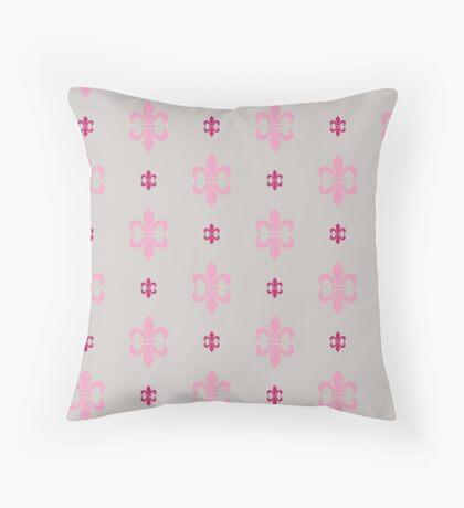 Hot Pink Fleur De Lis Retro Pattern Throw Pillow
