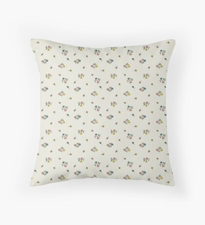 Blue, Pink and Yellow Small Flower Retro Pattern Throw Pillow