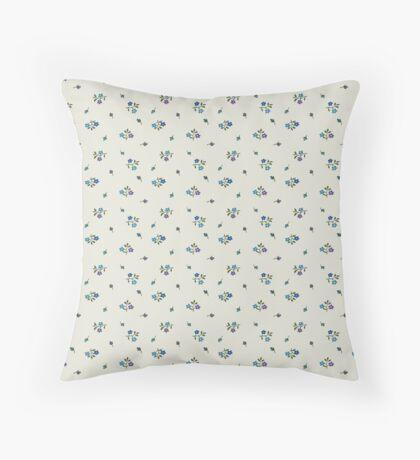 Blue and Purple Small Flower Retro Pattern Throw Pillow