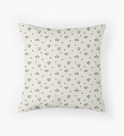 Pink and Purple Small Flower Retro Pattern Throw Pillow