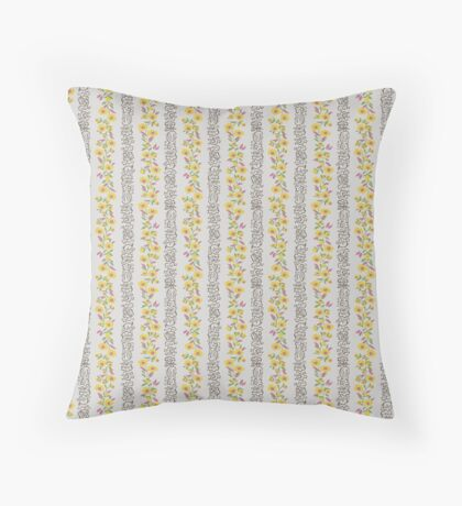 Pink and Yellow Small Flower Vertical Stripe Retro Pattern Throw Pillow