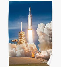 Spacex Falcon Heavy Demo Launch Lift Off Poster