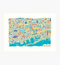 Barcelona City Map Poster Art Print