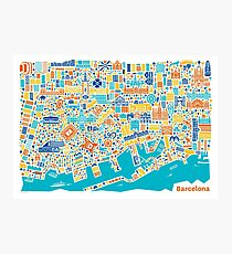 Barcelona City Map Poster Photographic Print