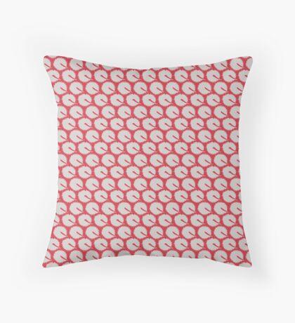 White Dandelions on Red Retro Pattern Throw Pillow