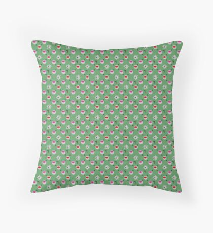 Red and Hot Pink cups on Green with White Daisies Retro Pattern Throw Pillow