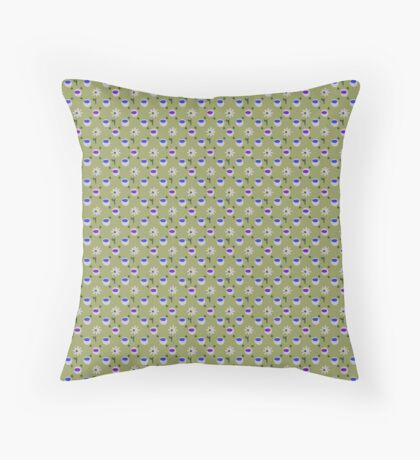 Ultra Violet and Blue on Green with White Daisies Retro Pattern Throw Pillow