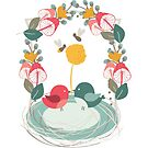 Cute birds holding a flower with bees buzzing by lakazdi