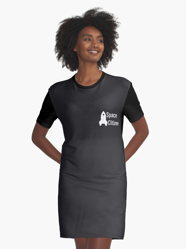 Space Citizen White Graphic T-Shirt Dress Front
