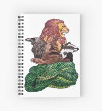Lion,Snake, Badger and raven.. Spiral Notebook