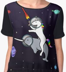 Unicorn Riding Narwhal In Space Chiffon Top