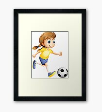 Kid Playing Football Framed Print