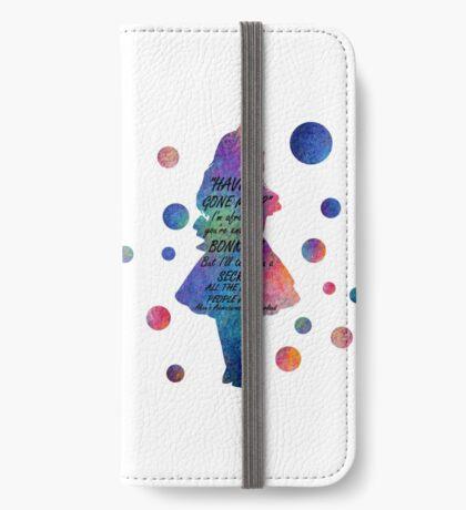 Colorido Alice In Wonderland Bonkers Cita Funda tarjetero para iPhone