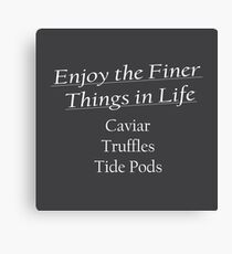 Enjoy the Finer Things - Tide Pods (Front White Writing) Canvas Print