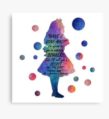 Colorido Alice In Wonderland Bonkers Cita Lienzo
