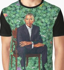 Obama Portrait Hawaiian Lettuce Parody Graphic T-Shirt