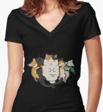 Sleepy Cats Women's Fitted V-Neck T-Shirt