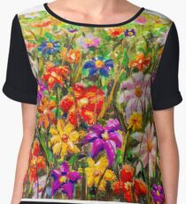 Buy painting Summer floral multicolored flower field - original oil painting. Chiffon Top