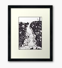 Waterfall landscape - graphic novel style Framed Print