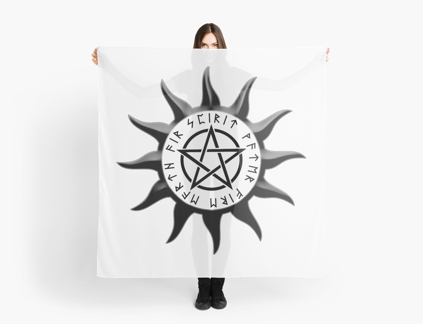 Wicca Sun Symbol With Pentagram And Runes Spirit Water Fire