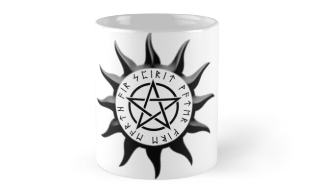 Sun Symbol With Pentagram And Runes Spirit Water Fire Earth Air