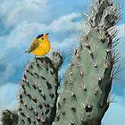 Cactus and Wilson's Warbler wildlife nature painting by LindaAppleArt