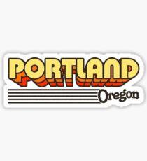 Pegatina Portland, Oregon | Rayas retro