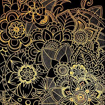 Floral Doodle Gold G523 by Medusa81