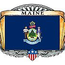 Maine Art Deco Design with Flag by Cleave