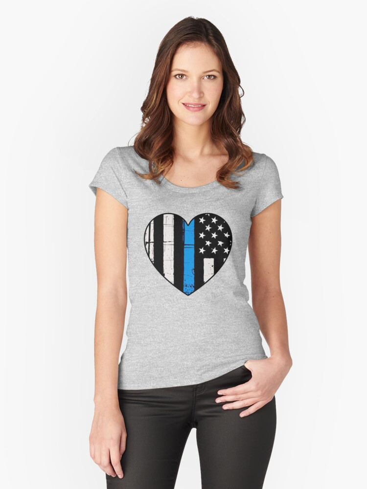 Thin Blue Line Heart: Support Police & Our LEOs Women's Fitted Scoop T-Shirt Front