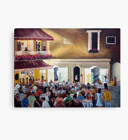 `Al Piccolo Bar' at night - in Piazza Umberto - Capri Canvas Print