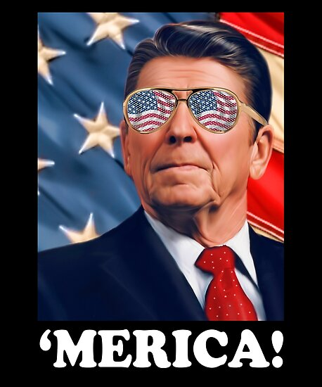 Funny Reagan 'MERICA Logo: Patriotic, Trendy, and Fun! by IntrepiShirts