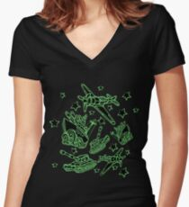 Military Forces Line Art  Women's Fitted V-Neck T-Shirt