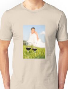 two wineglasses wedding picnic Unisex T-Shirt