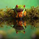 red eyed tree frog reflection in pond 1 by Angi Wallace