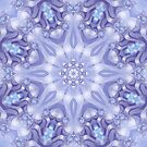 Light Blue, Lavender and White Mandala by Kelly Dietrich
