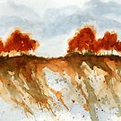 Fire Branch Ridge, Watercolor Painting Trees Landscape by ItayaArt