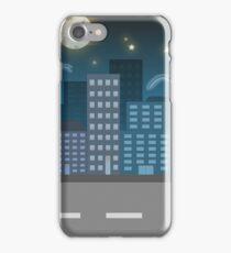 night city blue location illustration iPhone Case/Skin