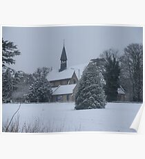 Snow Scene Church Poster