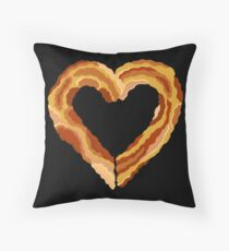 Bacon Heart Meat Lovers Funny Food Throw Pillow