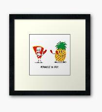 Italian Pizza vs Pineapple Pop Funny Drawing Framed Print