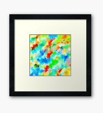 psychedelic geometric pixel abstract pattern in blue green red orange Framed Print