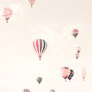 Hot Air Balloons, Soft and Pastel by Caroline Mint