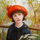 Portrait of a Girl with Flowers in the style of Renoir by wetherellart