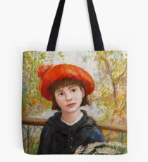 Portrait of a Girl with Flowers in the style of Renoir Tote Bag