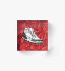 Jordan Cement 3, Stained Glass Sneaker design Acrylic Block
