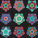 Boho Mandalas on Black by Juliet Chase